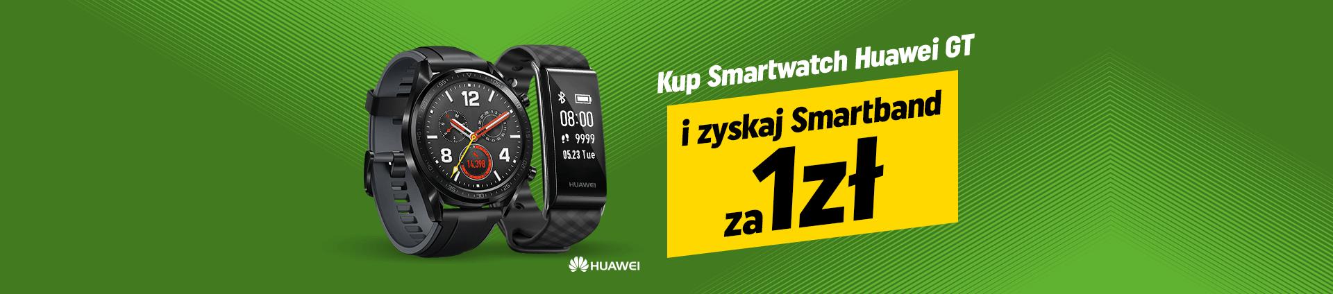Kup smartwatch Huawei GT i zyskaj smartband za 1zł.