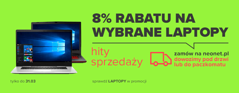 8% rabatu na wybrane laptopy
