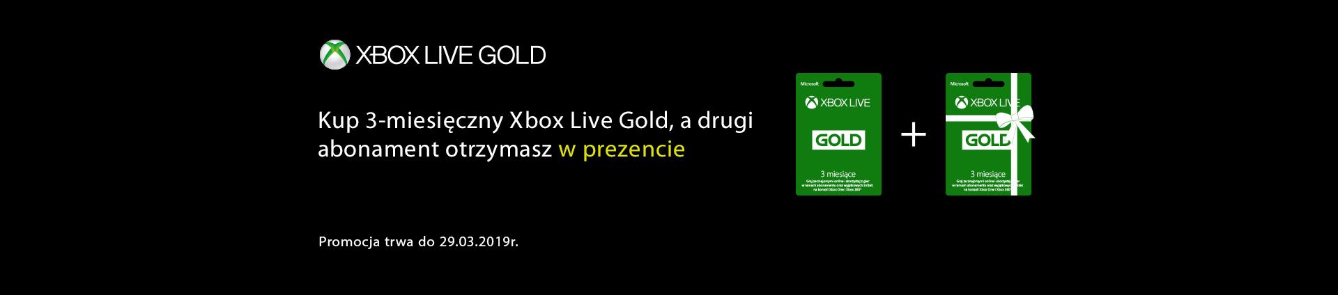 Kup 3 miesięczny Xbox Live Gold, a drugi abonament otrzymasz w prezencie.