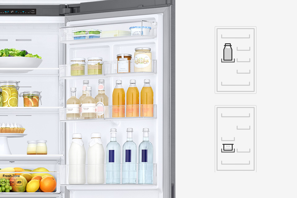 Samsung Łatwa, samodzielna regulacja. Pojemniki w drzwiach